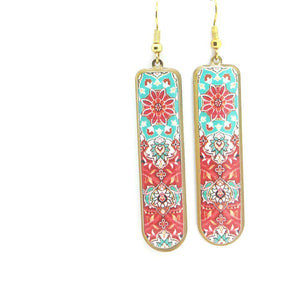 Delicate Patterns Earrings, Red Drops with Small Frieze - Yalda Concept Store Persan