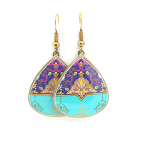 Delicate Patterns Earrings, Turquoise Drops - Yalda Concept Store Persan