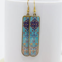 Load image into Gallery viewer, Delicate Patterns Earrings, Turquoise Drops with Small Frieze - Yalda Concept Store Persan