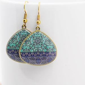 Delicate Patterns Earrings, Turquoise Drops with Small Frieze - Yalda Concept Store Persan