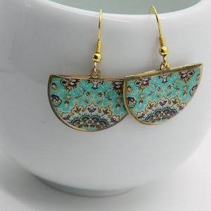 Delicate Patterns Earrings, Turquoise Half Moon - Yalda Concept Store Persan