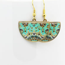 Load image into Gallery viewer, Delicate Patterns Earrings, Turquoise Half Moon - Yalda Concept Store Persan