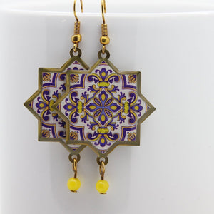 Delicate Patterns Earrings, Yellow & Purple - Yalda Concept Store Persan