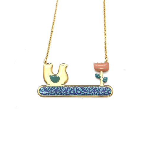 Delicate Patterns Necklace, Bird & Rose - Yalda Concept Store Persan
