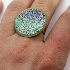 Delicate Patterns, Turquoise & Deep Blue Ring - Yalda Concept Store Persan