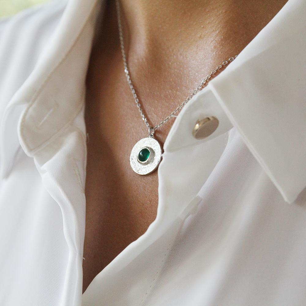 Delight Sterling Silver 925 Green Onyx Necklace - Yalda Concept Store Persan