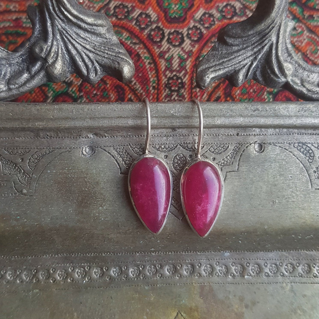 Drop Earrings, Silver 925 & Ruby - Yalda Concept Store Persan