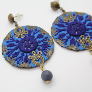 Fine Blue Embroidered Earrings - Yalda Concept Store Persan