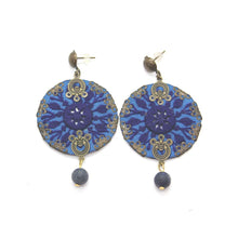 Load image into Gallery viewer, Fine Blue Embroidered Earrings - Yalda Concept Store Persan