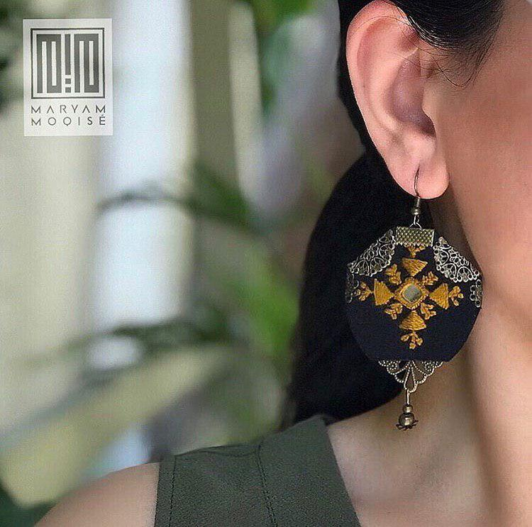 Fine Embroidered Earrings, Black Earrings - Yalda Concept Store Persan