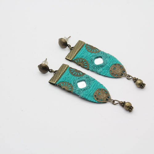 Fine Embroidered Earrings, Blue Earrings - Yalda Concept Store Persan