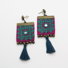 Load image into Gallery viewer, Fine Embroidered Earrings, Blue Square Earrings - Yalda Concept Store Persan