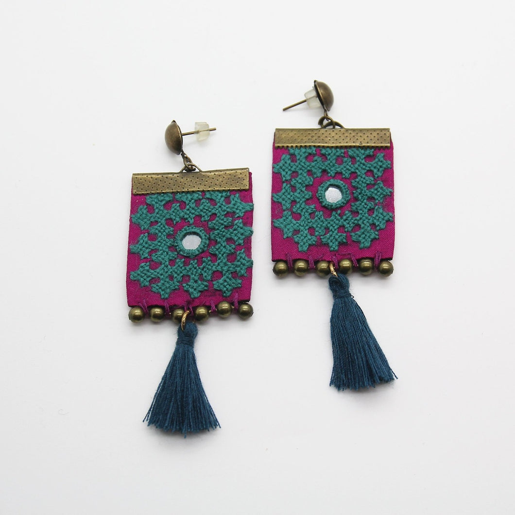 Fine Embroidered Earrings, Blue Square Earrings - Yalda Concept Store Persan