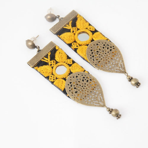 Fine Embroidered Earrings, Orange Leafs - Yalda Concept Store Persan