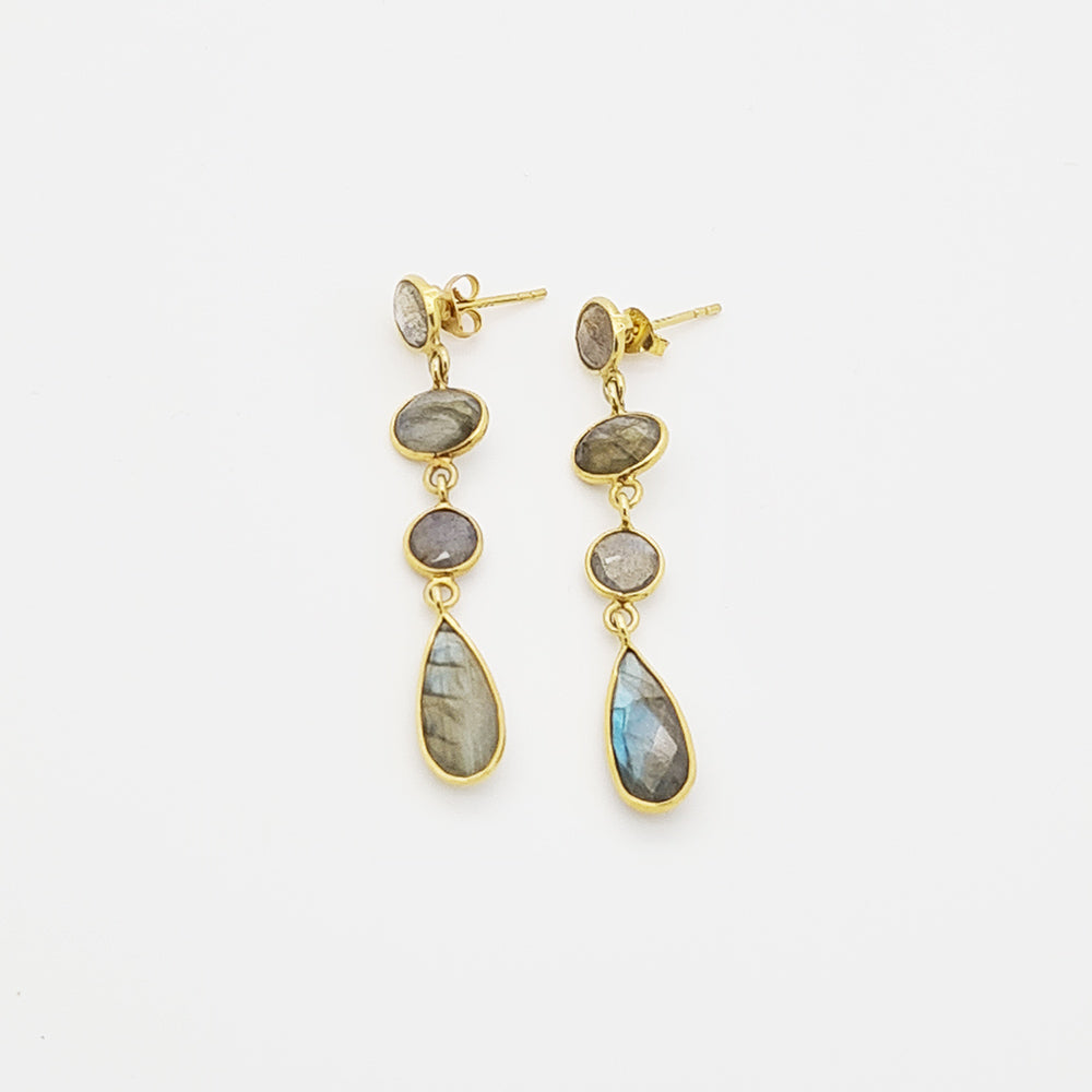 Labradorite On Silver Gold Palted Earrings