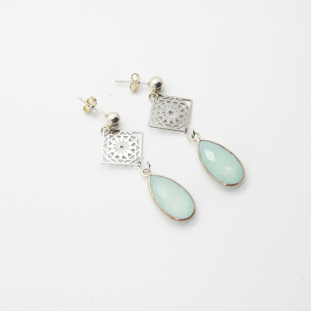 Graceful Aqua Chalcedony Drop Earrings - Yalda Concept Store Persan