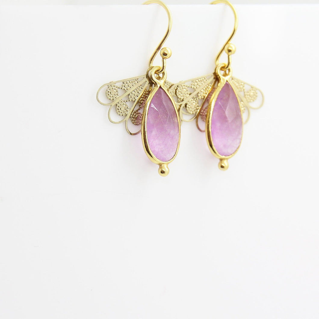 Graceful Little Pink Quartz Earrings - Yalda Concept Store Persan