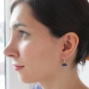 Graceful Silver & Lapis Lazuli Earrings - Yalda Concept Store Persan