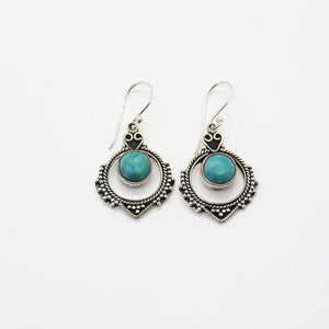 Graceful Silver & Turquoise Earrings - Yalda Concept Store Persan