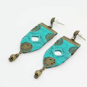 Handmade Embroidered Earrings, Blue Earrings - Yalda Concept Store Persan
