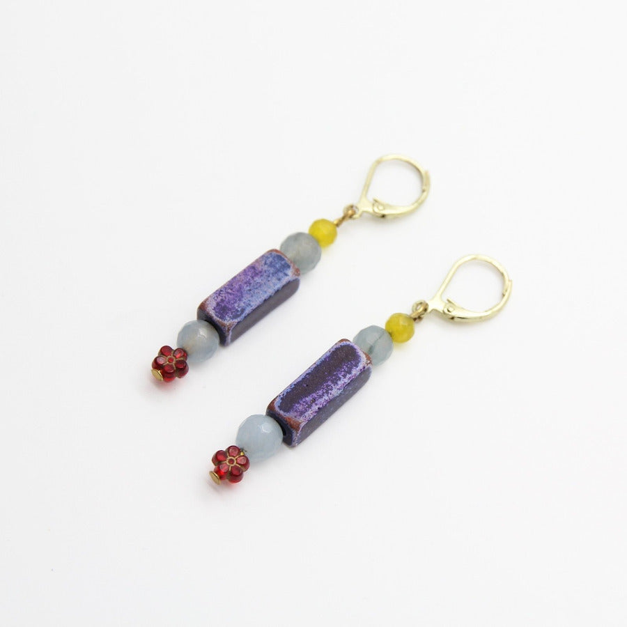 Ishtar Blue Old Glass Earrings - Yalda Concept Store Persan