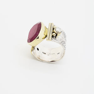 Oriental Chic Red Sillimanite Silver Ring