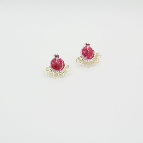 Pomegranate Earrings, Grenade & Feathers - Yalda Concept Store Persan