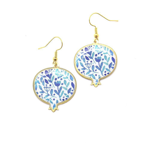 Pomegranate Earrings With Delicate Patterns, Blue - Yalda Concept Store Persan