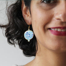 Load image into Gallery viewer, Pomegranate Earrings With Delicate Patterns, Blue - Yalda Concept Store Persan