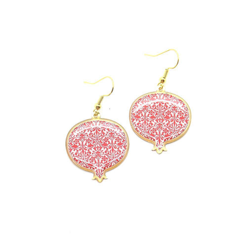 Pomegranate Earrings With Delicate Patterns, Red - Yalda Concept Store Persan