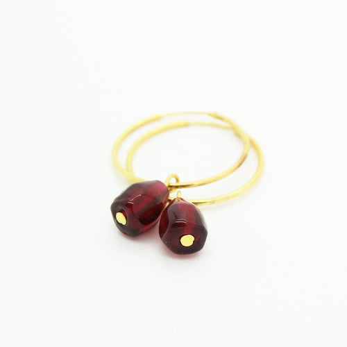 Pomegranate Hoop Earrings, Single Glass Seeds - Yalda Concept Store Persan