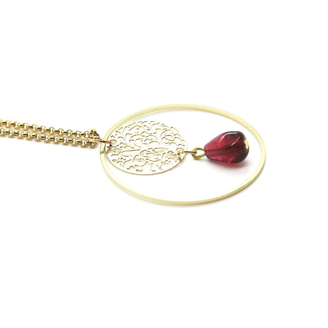 Pomegranate Necklace, Single Seed - Yalda Concept Store Persan