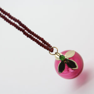 Pomegranate Necklace, Transparant Pomegranate & Jade Seeds - Yalda Concept Store Persan