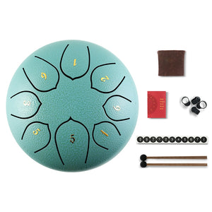 Small Turquoise Tongue Drum - 8 Tunes - 15 cm