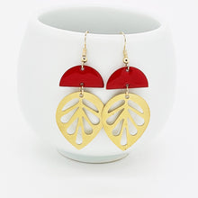 Load image into Gallery viewer, Red Leaf Earrings
