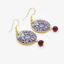 Load image into Gallery viewer, Splendid Patterns Earrings, Blue Circles with Tiny Red Drops. - Yalda Concept Store Persan