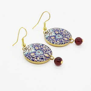 Splendid Patterns Earrings, Blue Circles with Tiny Red Drops. - Yalda Concept Store Persan