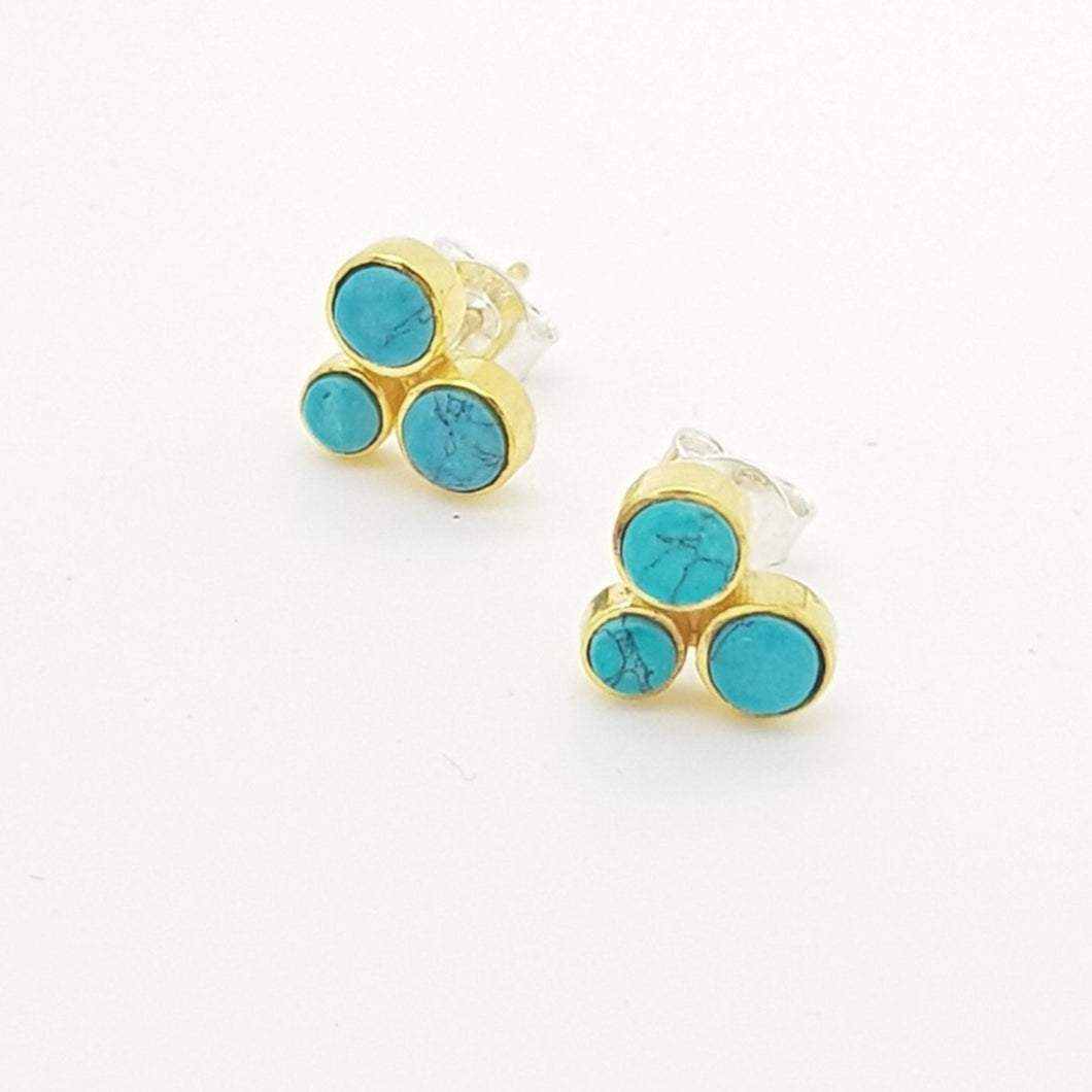 Turquoise Silver 925 & Brass Earrings - Yalda Concept Store Persan
