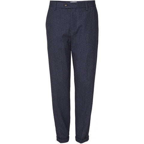 Pavia Wool Herringbone Pants dark navy/black