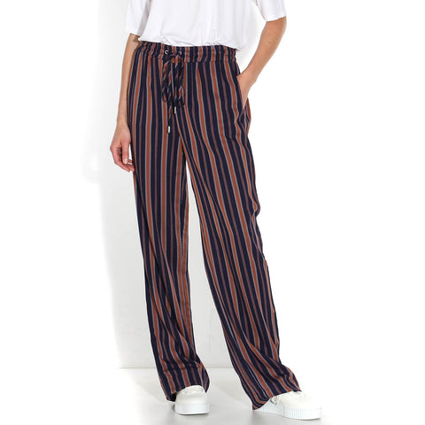 Viviaan Multicol Stripes Pant evening blue-maroon