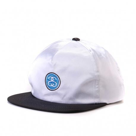 Ss-Link Satin Blocked Snapback Cap white