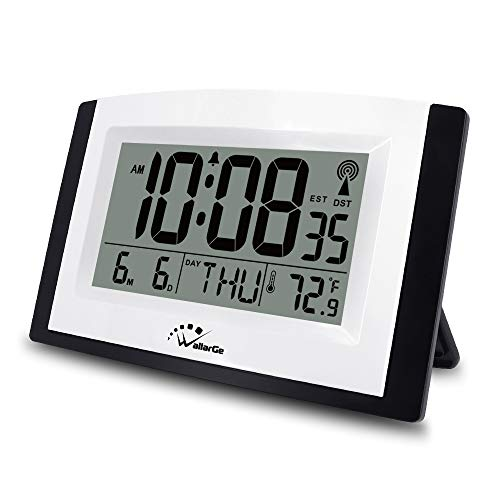 Atomic Clock with Night Light,Digital Wall Clock or Desk Clock,7.6In Digital Alarm Clock,Battery Operated,Auto DST,Calendar,Temperature for Bedroom/Kitchen/Office. (with Backlight)