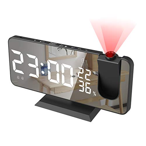 "Alarm Clock for Bedroom, Radio Digital Alarm Clock with USB Charger, 7.4"" Large Mirror LED Display Projection Alarm Clock, Auto Dimmer Mode, Easy Snooze, Dual Loud Smart Alarm Clock for Heavy Sleepers"