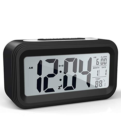 Battery Operated Cordless Digital Alarm Clock with Date,Temperature, Smart Sensor Light,12/24Hr,Snooze for Bedrooms,Office,Heavy Sleepers,Kids (Black)