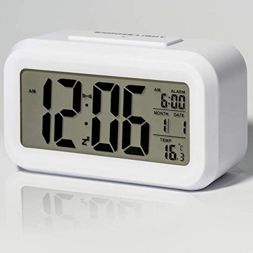 Digital Alarm Clocks Battery Operated, with Smart Nightlight, Indoor Temperature, Date, Time Large Display, Kids Bedside Alarm Clock Easy to Use, Battery Powered Small Alarm Clock for Bedroom (White)