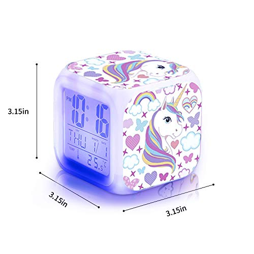 Unicorn Alarm Clocks for girs,7-in-1 Night Light Kids Alarm Clocks with LED Glowing Bedroom Wake Up Alarm Clock Gifts for Unicorn Room Decor for Girls Bedroom (White)