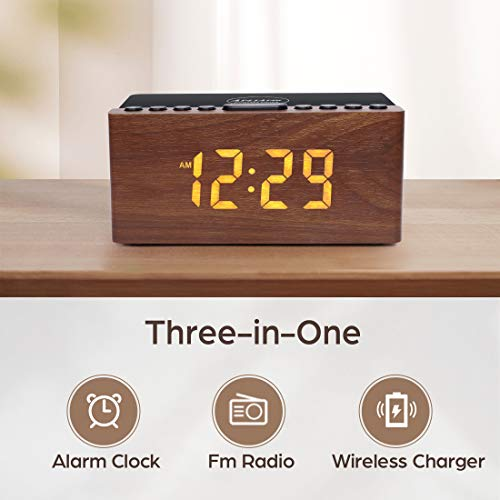 Wooden Digital Alarm Clock FM Radio,10W Fast Wireless Charger Station for iPhone/Samsung Galaxy,5 Level Dimmer,USB Charging Port,2 Wake up Sounds,Bedrooms Sleep Timer,Wood LED Clock for Bedside