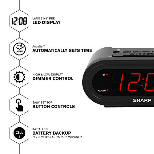 Digital Alarm with AccuSet - Automatic Smart Clock, Never Needs Setting - Great for Seniors, Kids, and Everyone who Doesn't Want to Set a Clock! Black Case with Red LEDs