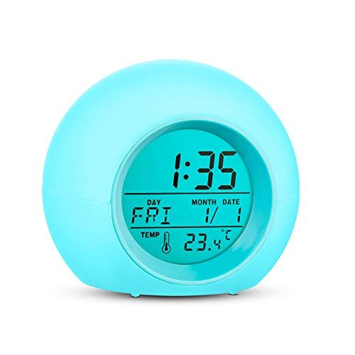 Alarm Clock Wake Up Easy Setting Digital Clock for Boys Girls, 7 Colors Changing LED Light Large Display Time/Date/Temp/Alarm with Snooze, Bedside Clock, Night Light Clock - Best Gift for Kids
