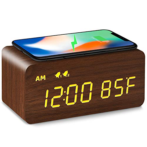 Digital Wooden Alarm Clock with Wireless Charging, 0-100% Dimmer, Dual Alarm, Weekday /Weekend Mode, Snooze, Wood LED Clocks for Bedroom, Bedside, Desk, Kids (Brown)